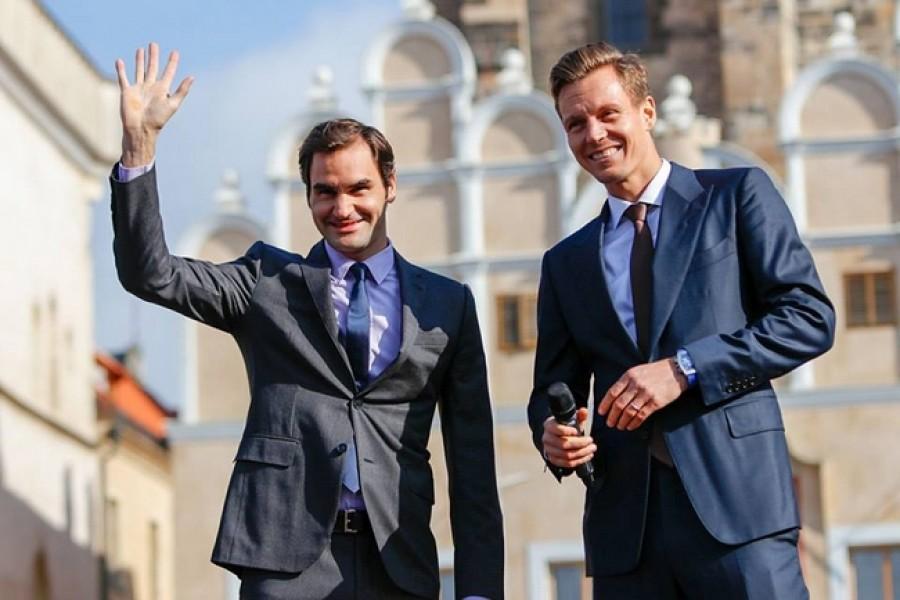 Federer navštívil Prahu. Společně s Berdychem propagovali letošní Laver Cup.